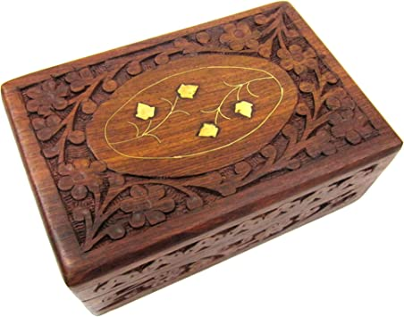 Amazon Com Handmade Floral Brass Inlay 6 Inch By 4 Inch Sheesham Wooden Jewelry Storage Box With Inlay Design For Women Organizer Display Storage Case Gifts For Her Home Improvement