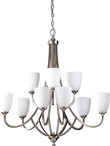 Feiss F2585 6 3BS Perry Glass Chandelier Lighting, Satin Nickel, 9-Light 32 Dia x 33 H 900watts
