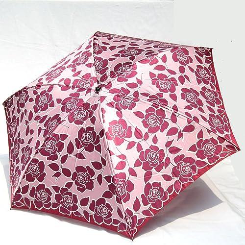 ブランド傘 ハナエ モリ HANAE MORI(折りたたみ)ピンク バラ ブランド折り畳み傘