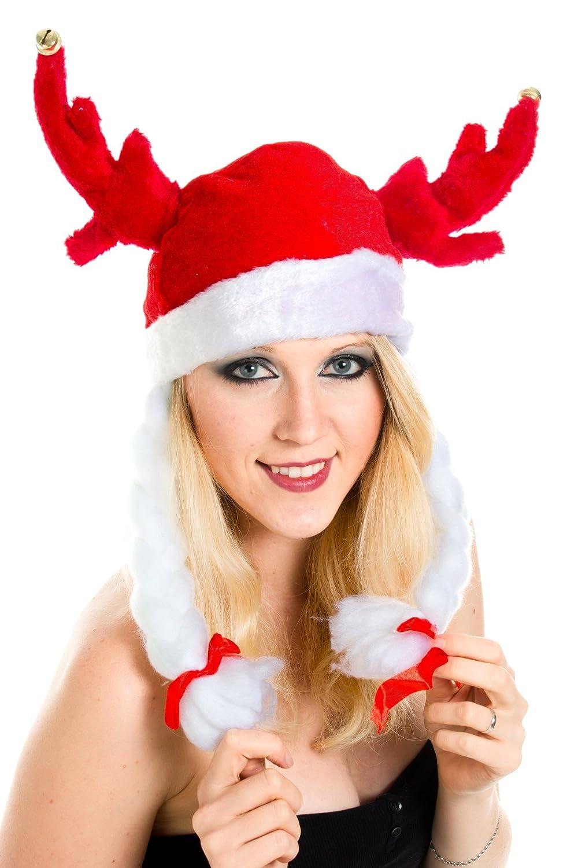 Weihnachtsmütze Nikolausmütze Wikinger Hut mit Zöpfen X3