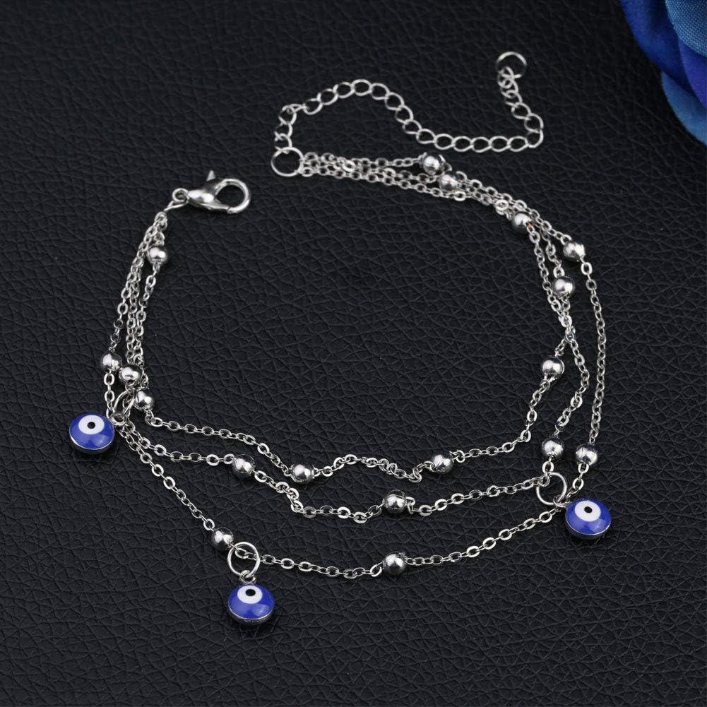 Bangle009 Modisches Fu/ßkettchen mit b/ösem Auge und Perlen Strandschmuck goldfarben mehrlagiges Armband f/ür Damen