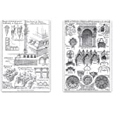 """Vintage Architecture Drawings Magnet Set - 2""""x3"""" Magnets featuring Old Architect Sketches for Kitchen Art, Office Decor, Gift for Kids, Men & Women - Made in USA"""