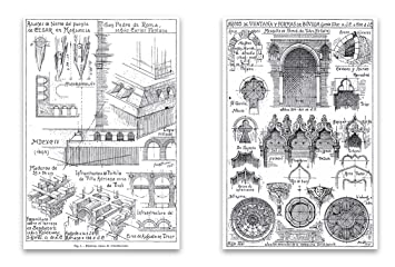 Amazon Com Vintage Architecture Drawings Magnet Set