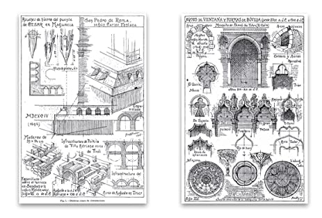 vintage architecture drawings magnet set 2x3 magnets featuring old architect sketches for - Simple Architecture Blueprints
