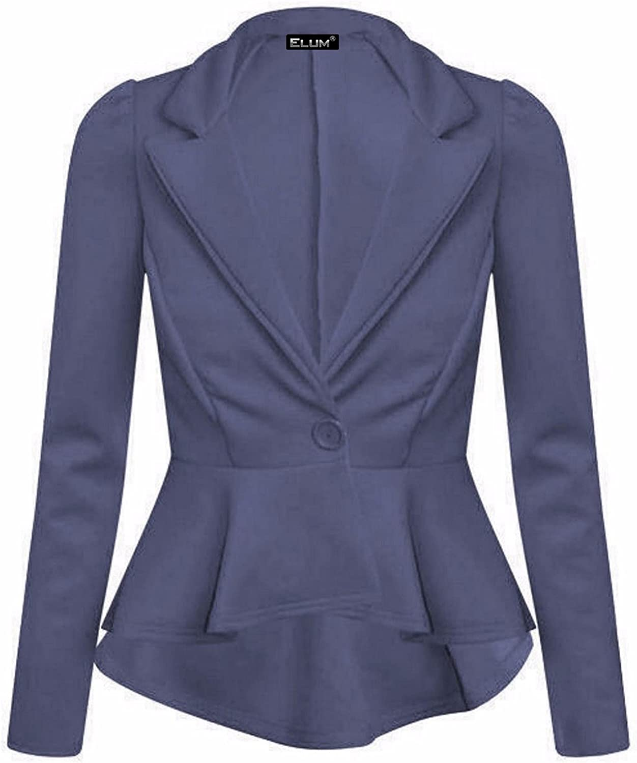 Elum/® Womens Long Sleeves Crop Frill Shift Slim Fit Peplum Blazer Jacket Coat