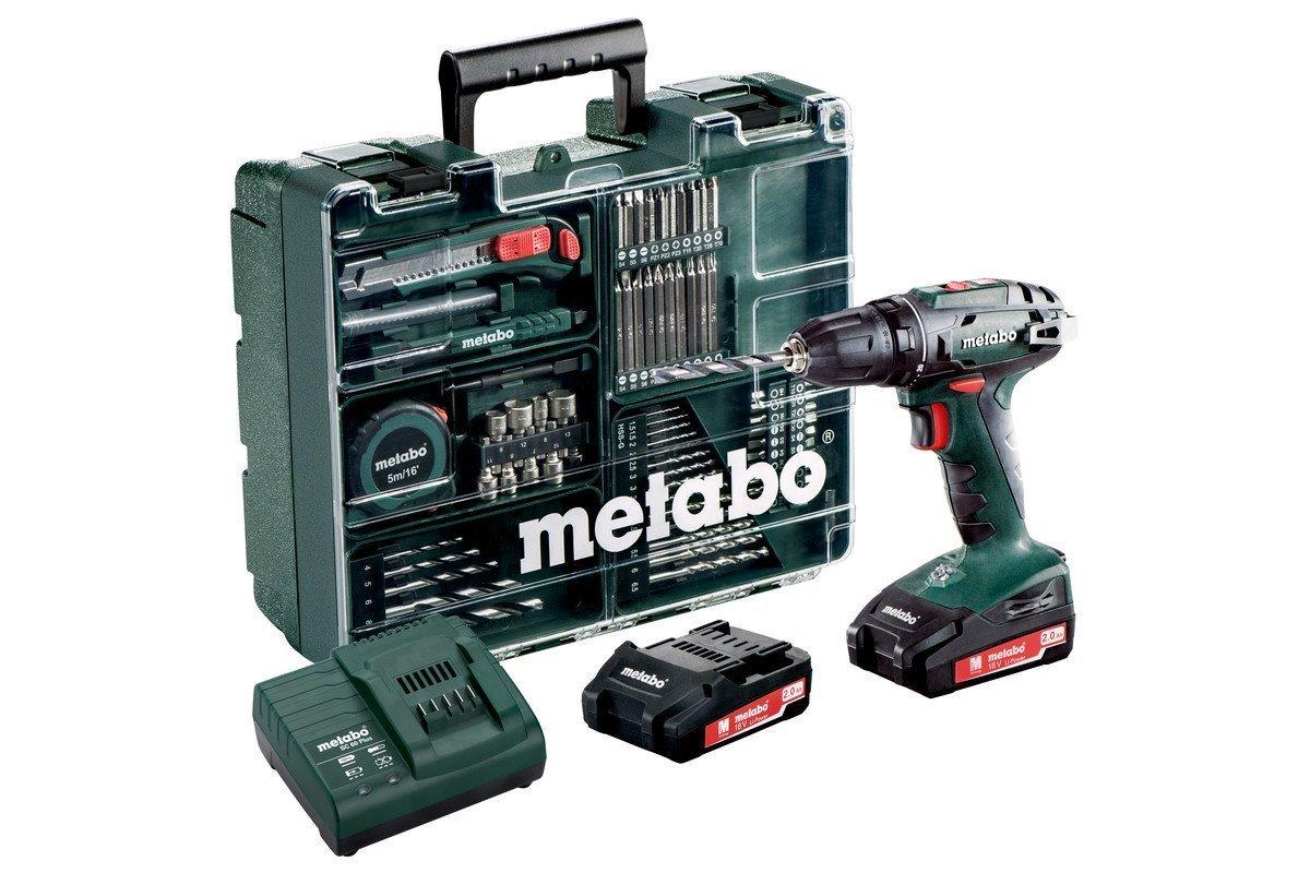 METABO BS18LI Perceuse Visseuse 18V, 2Ah Li(2 batteries) + 65 accessoires 60211654