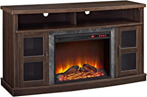 "Ameriwood Home Barrow Creek Fireplace Console with Glass Doors for TVs up to 60"", Espresso"
