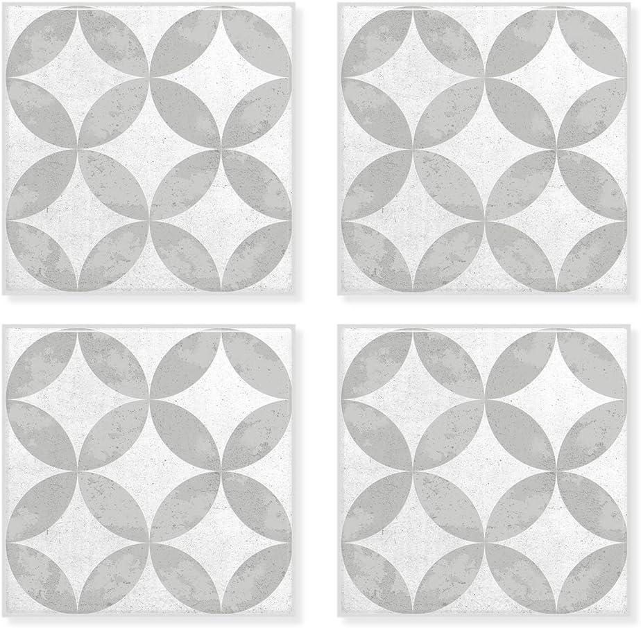 "Smart Tiles Self Adhesive Wall Tiles - Vintage Bazzini Franco - 4 Sheets of 7.75"" x 7.75"" (19.46 cm x 19.46 cm) Kitchen and Bathroom Stick on Tiles - 3D Peel and Stick Backsplash"
