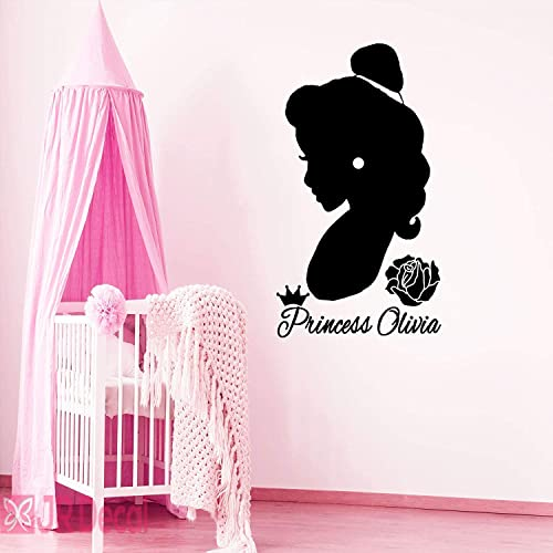 Princess girls bedroom wall decal Personalized name Nursery room decor stickers