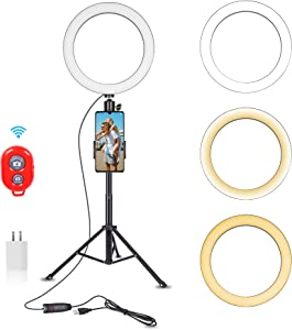 Emart 10-inch Selfie Ring Light with Adjustable Tripod Stand & Cell Phone Holder for Live Stream, YouTube Video, Makeup,Dimmable LED Camera Ringlight with 3 Light Modes & 11 Brightness Levels