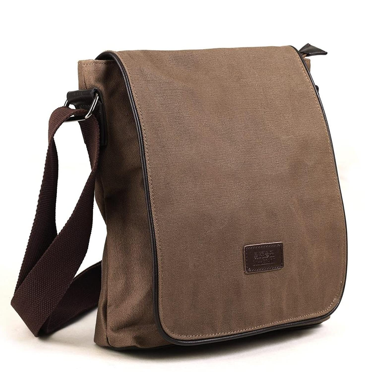 Eshow Men Shoulder Bag Canvas Small Satchel Bag ipad Crossbody for Mens Small Messenger for Work Casual Daily Travel School Classic Vintage Traveling Weekend
