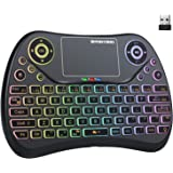 (Newest Version) PONYBRO Backlit Mini Wireless Keyboard with Touchpad Mouse Combo QWERTY Keypad,Rechargeable Handheld Keyboar