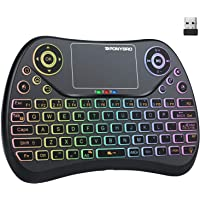 (Newest Version) PONYBRO Backlit Mini Wireless Keyboard with Touchpad Mouse Combo QWERTY Keypad,Rechargeable Handheld…