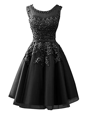 Cdress Tulle Short Junior Homecoming Dresses Lace Appliques Prom Dress Evening Gowns Black US 2