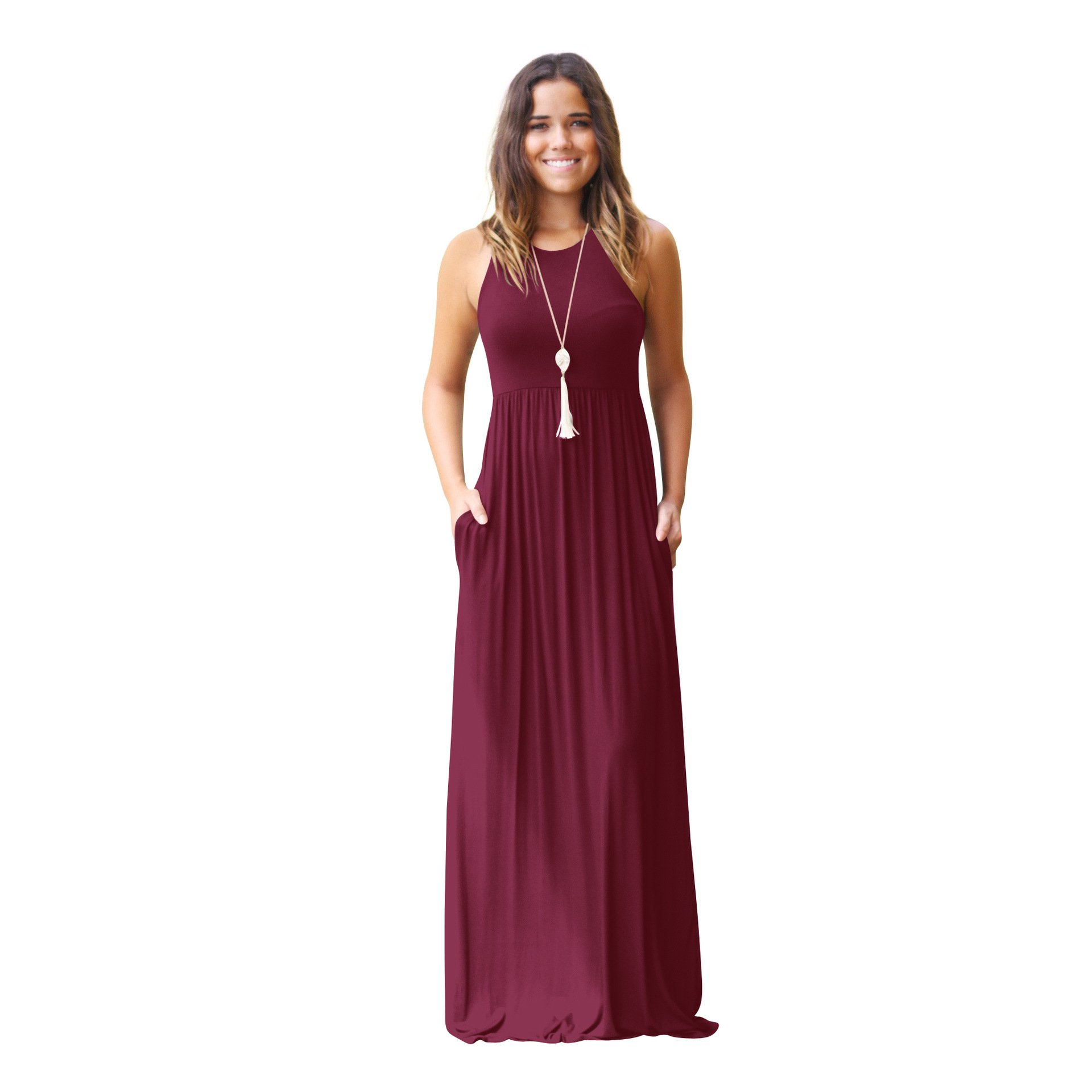 Alickson Fashion Women's Halter Sleeveless Maxi Dress Casual Long Skirts with Pockets