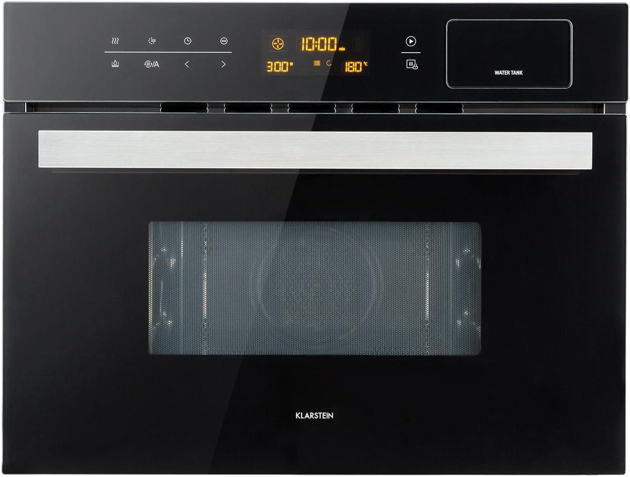 Klarstein Luminance Steam Vaporizador 3 en 1 - grill, cocina al vapor y microondas, 34L, 900W, Panel táctil, 5 niveles, Acero inoxidable, Incluye marco de montaje, Negro