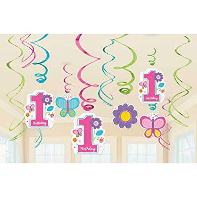amscan Foil Swirl Decorations | 1st Birthday Girl |Flowers and Butterflies Collection, 12 Pieces, Multicolor: Kitchen & Dining