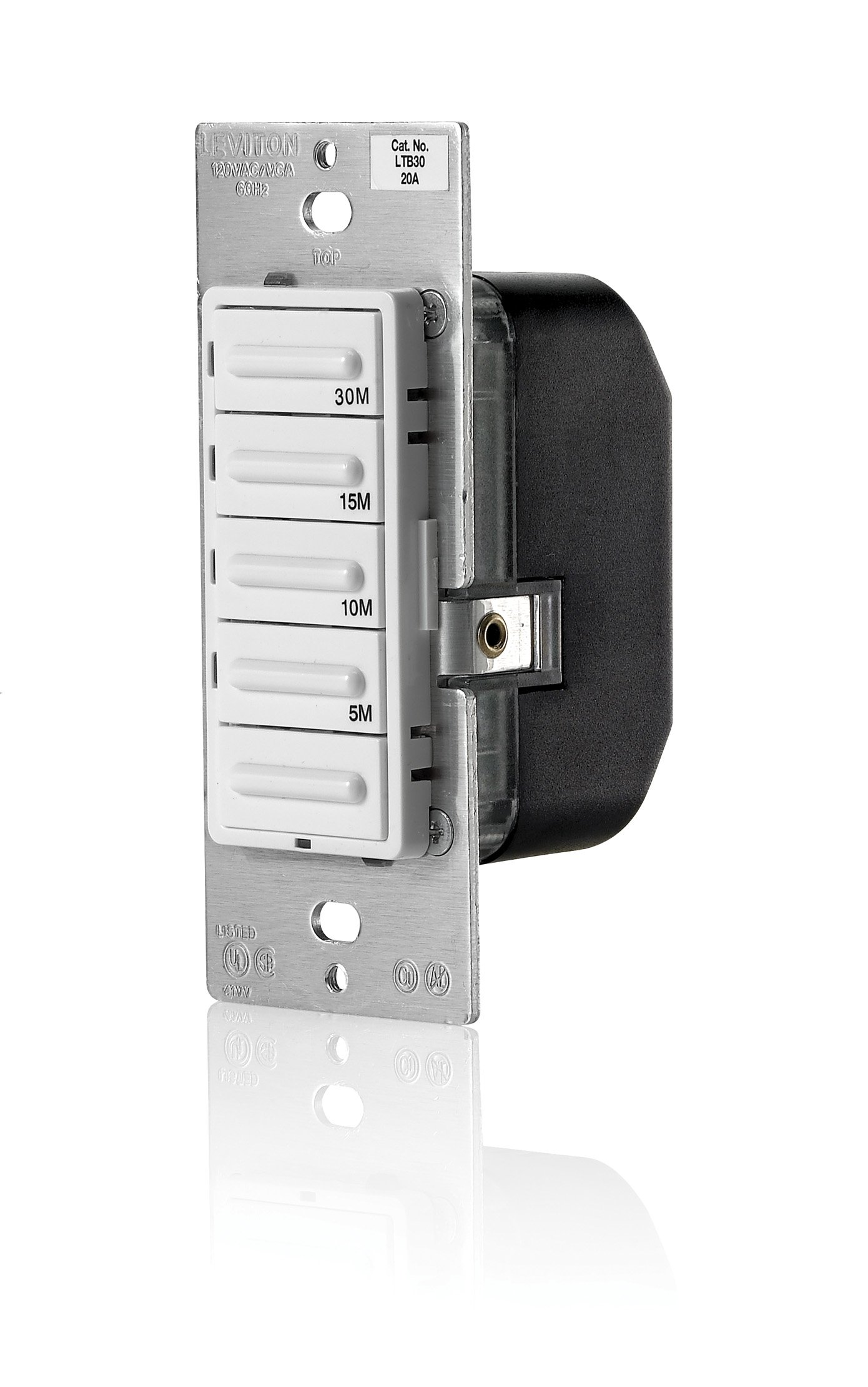 Leviton LTB30-1LZ Decora 1800W Incandescent/20A Resistive-Inductive 1HP Preset 5-10-15-30 Minute Countdown Timer Switch, White/Ivory/Light Almond