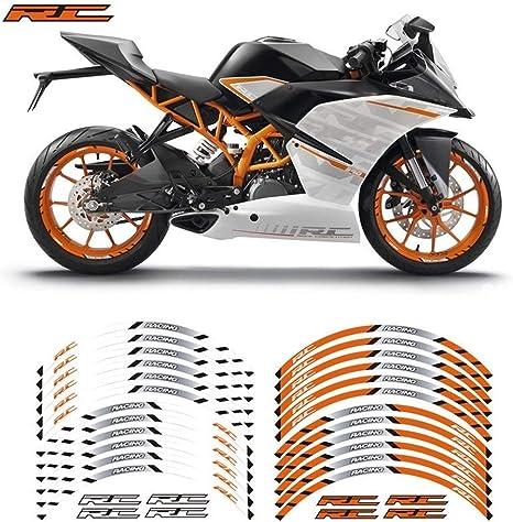 Jante Motos Autocollant r/éfl/échissant /à RC 125 200 390 Motos Autocollants Roues Moto r/éfl/échissant Rim Stripe Bande Stickers Color : 230234