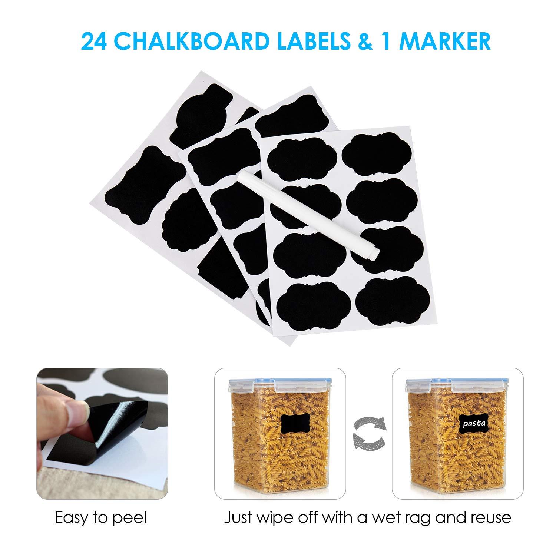 pl/ástico sin BPA contenedores de almacenamiento de despensa de cocina con 24 etiquetas y marcador Vtopmart 5,2 L x 2//176 oz Contenedores de cereales para almacenamiento etc. harina para cereales