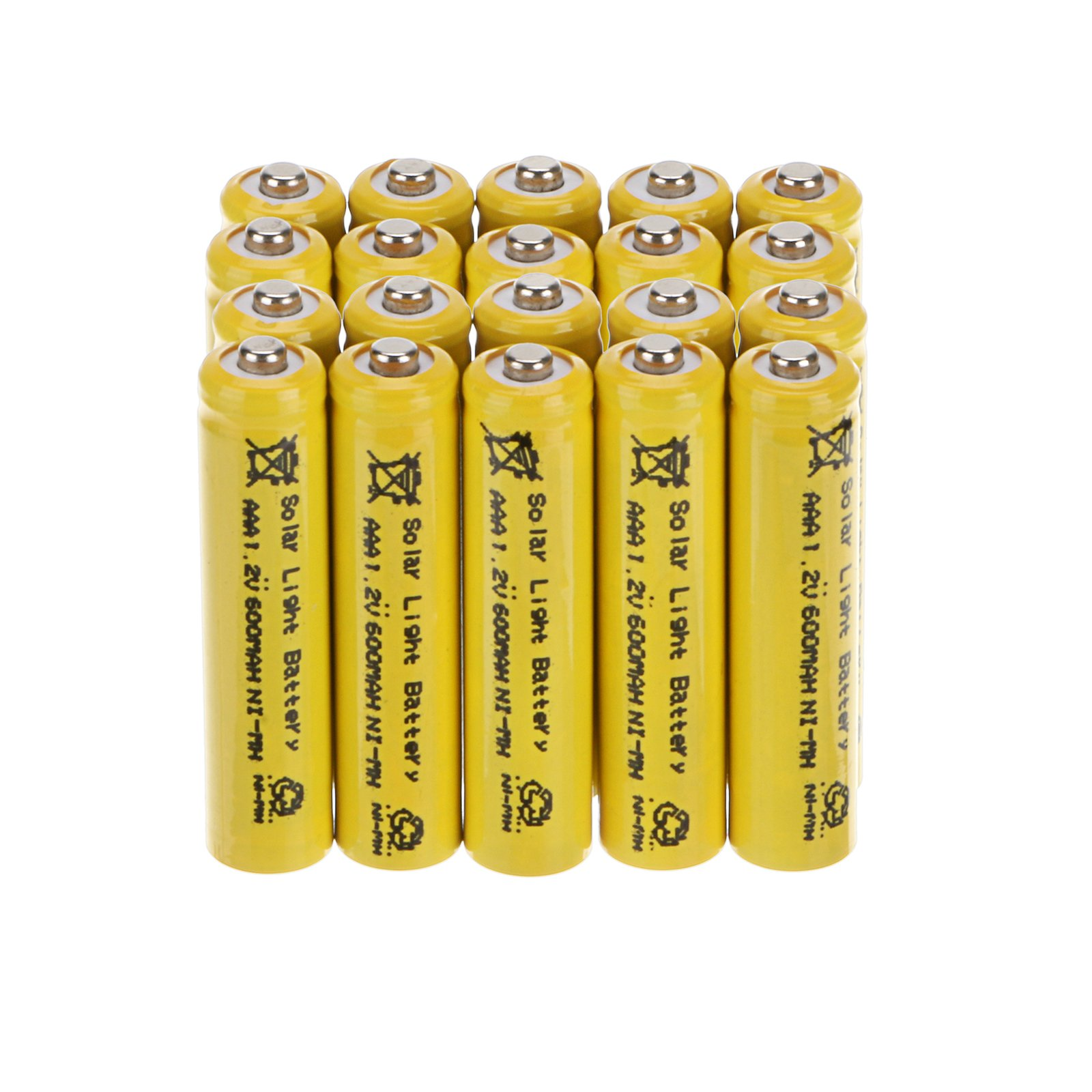 Windmax Yellow 15 PCS 3A AAA 1.2V 600mAh Rechargeable Battery White NiMH 3A batteries for Solar Light