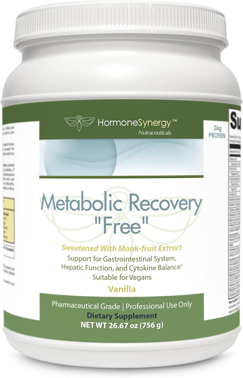 Metabolic Recovery Formula Free Sugar Stevia Free Gastrointestinal, Hepatic Intestinal Support* 26g Vegan Protein sweetened w Monk-Fruit Extract Non-GMO Pea Rice