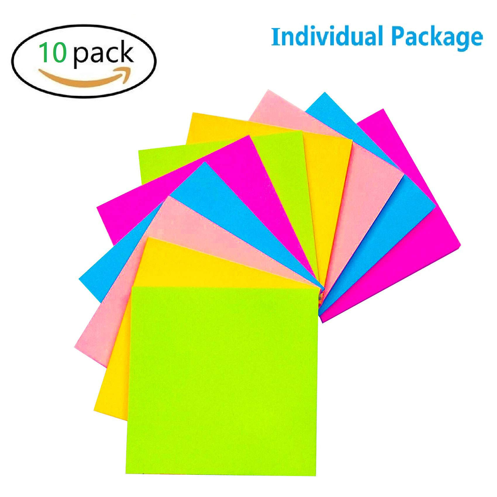 Sticky Notes 3x3 inches, 5 Bright Color Self-Stick Notes 10 Pads/Pack, 100 Sheets/Pad, Squares Easy Post Individually Package