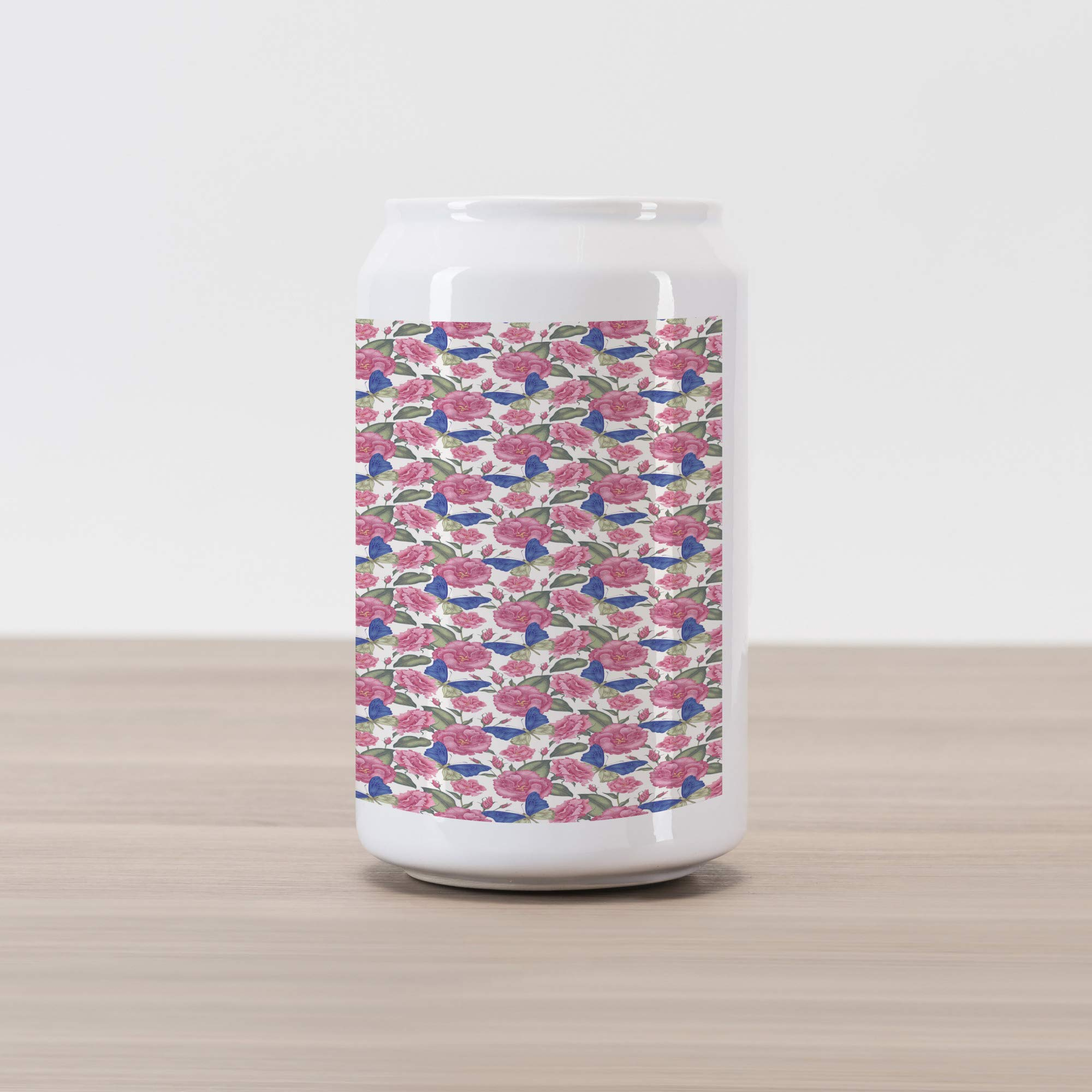 Ambesonne Garden Art Cola Can Shape Piggy Bank, Illustration of Flowers in Victorian Style Exotic Butterflies and Pink Blossoms, Ceramic Cola Shaped Coin Box Money Bank for Cash Saving, Multicolor