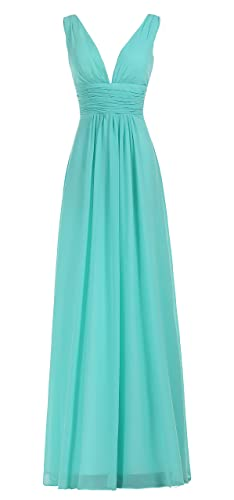 BISLU Women's Sexy V-Neck Ruched Waist Long Prom Evening Gown Bridesmaid Dress