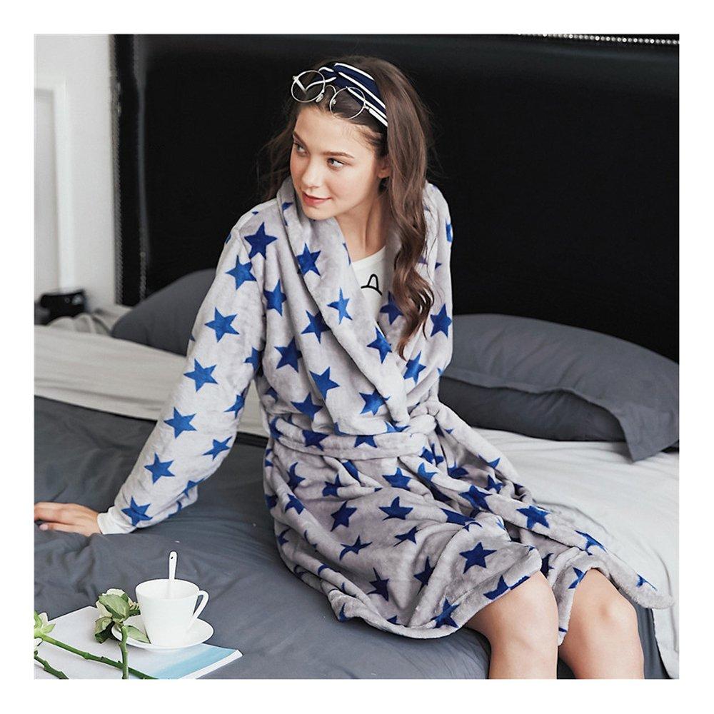 a29dd14603 Damen Bademantel in Kurzform mit Sternen, Weich u. Kuschelig Flauschig  Morgenmantel für Erwachsene, Grau, M-XL: Amazon.de: Bekleidung