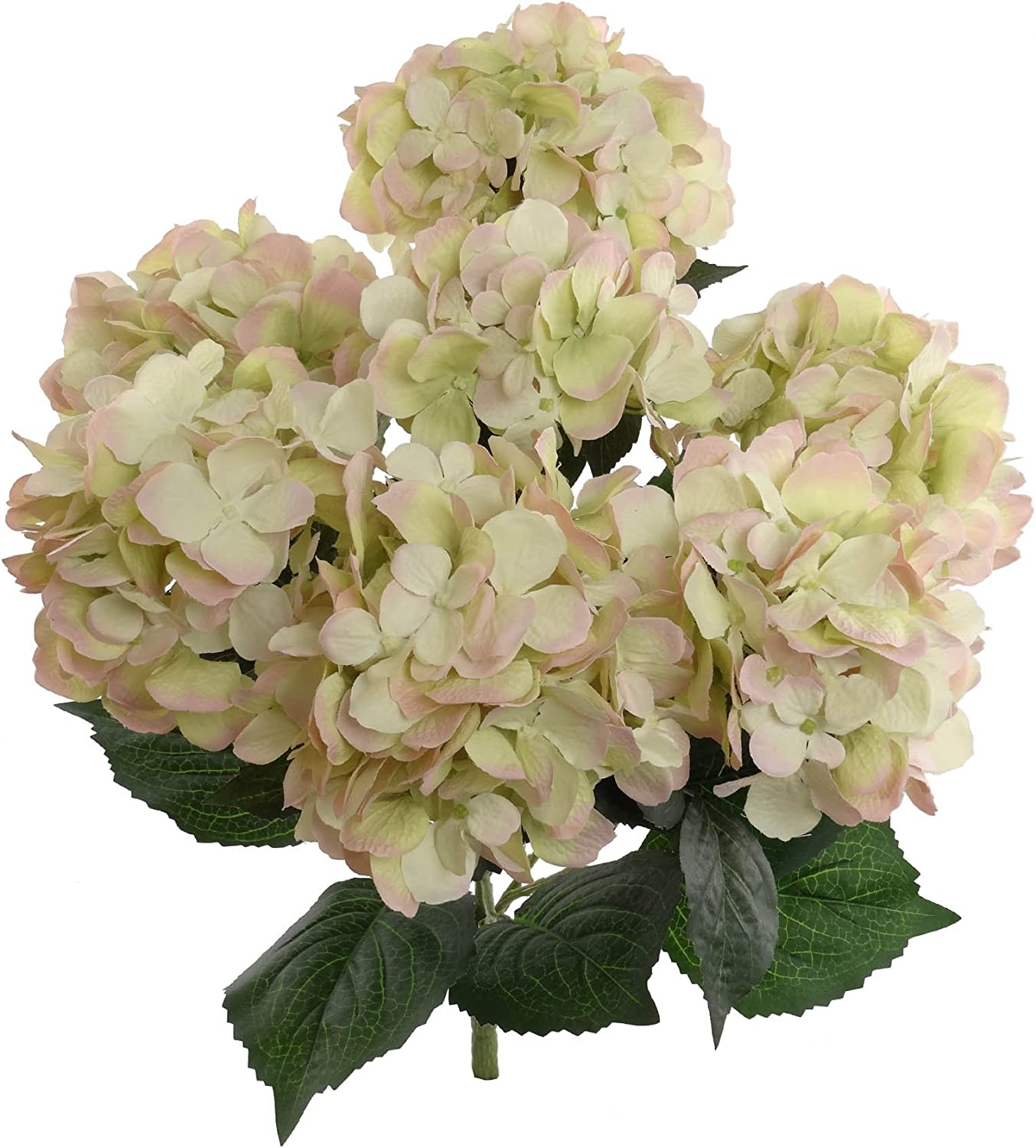 Hydrangea Silk Flowers Plant, Green Pink, Indoor Home Decor, Outdoor Plant, Wedding, Centerpieces, Bouquets, 2-Pack, Artificial Hydrangeas Bush with 7 Large Gorgeous Bloom Clusters, Leaves, Stems