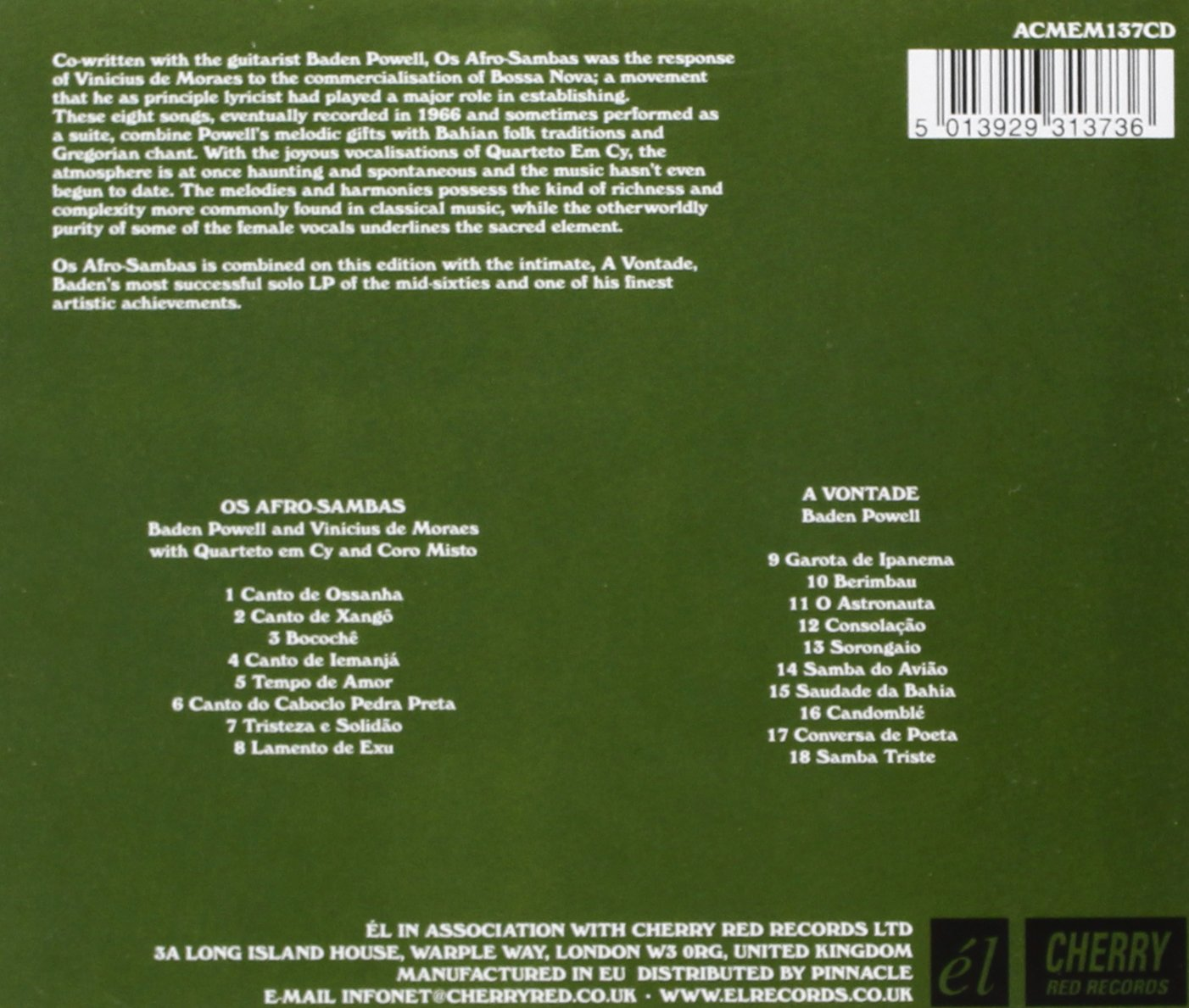 Os Afro Sambas / A Vontade /  Baden Powell & Vinicius De Moreas