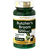 Butchers Broom Capsules 1250mg | 120 Count | Max Potency | Non-GMO, Gluten Free | Traditional Herb Root Extract Supplement | by Horbaach