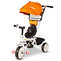 Baybee LADYO 3-in 1 Convertible baby Tricycle kid's Trike with Parental adjust push handle children tricycle/bicycle with Seat Belt Kid's Ride on Outdoor   Suitable For Boys & Girls - (1 to 5 Years) Plug and Play Tricycle for Kids/Baby ( Orange )
