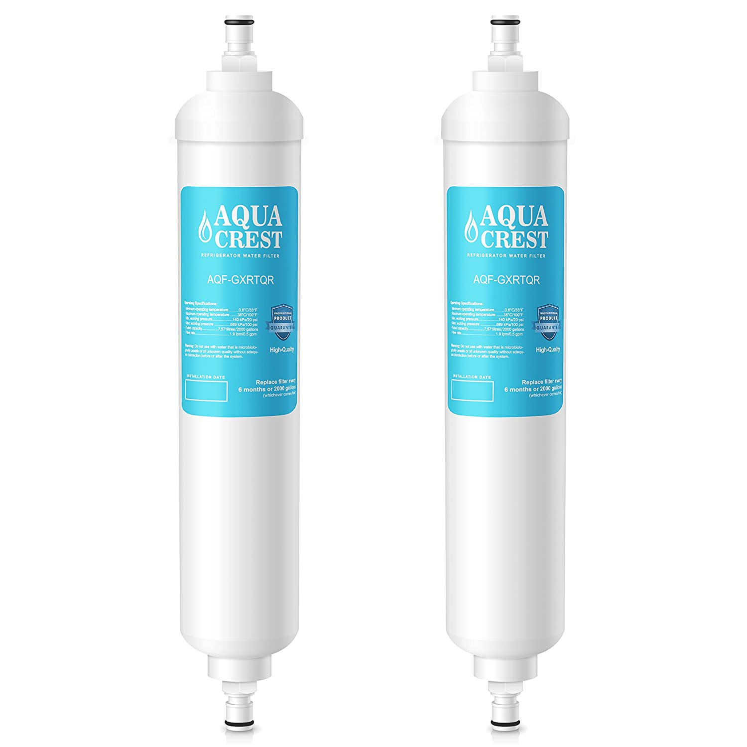 AQUACREST Replacement GXRTQR Refrigerator Water Filter, Compatible with GE GXRTQR GXRTQ System (Pack of 2)