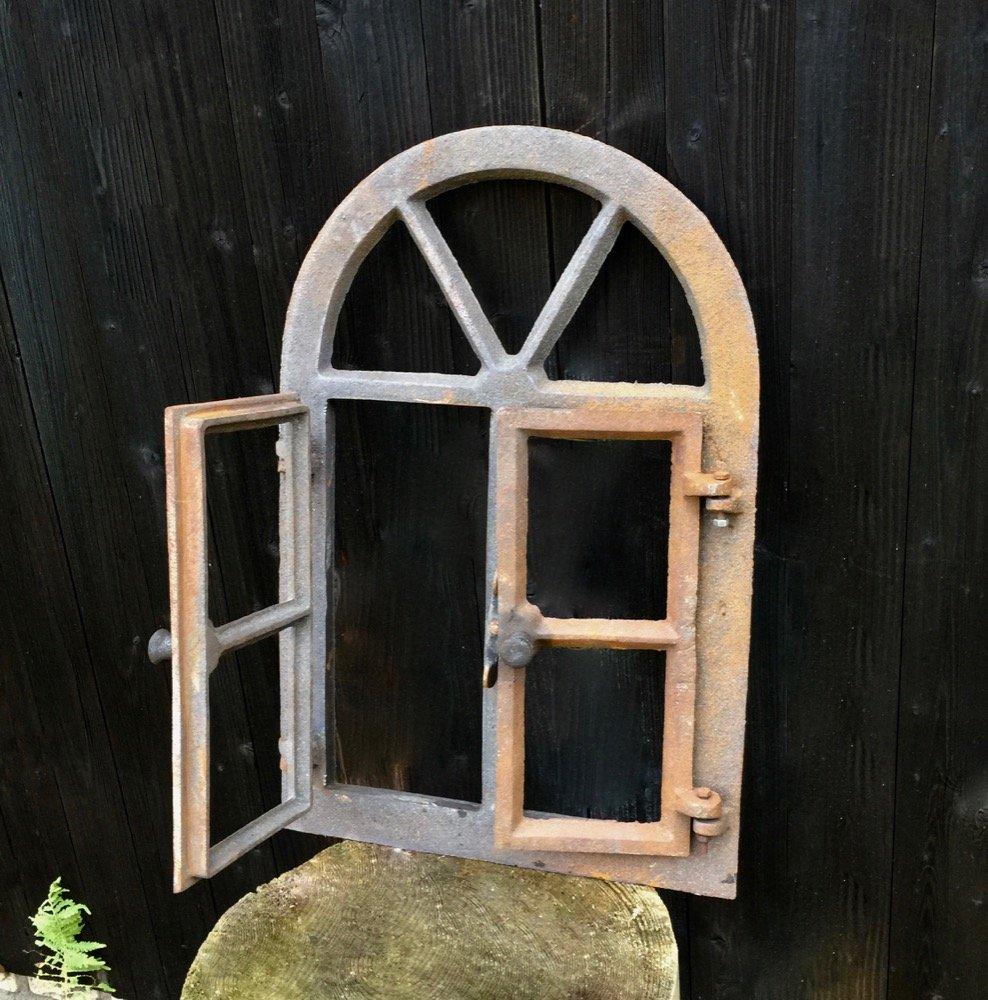 Eisenfenster mit Rundbogen /& Doppelfl/ügel H/öhe: 57,5 cm aus unbehandeltem Gusseisen Antikas Breite: 38 cm