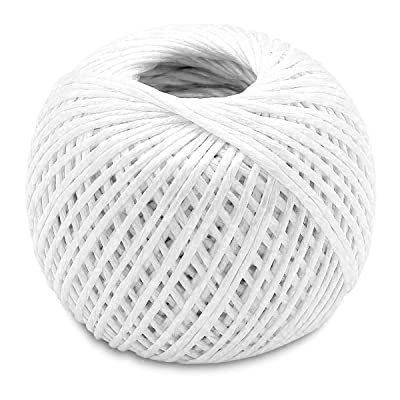 Katzco White - 350 Feet Long Polypropylene Twine Roll, 3mm Thick - for Industrial, Packaging, Arts and Crafts, Hobby, Gifts, Decoration, Bundling, Gardening, and Home Use, 1 Pack : Office Products