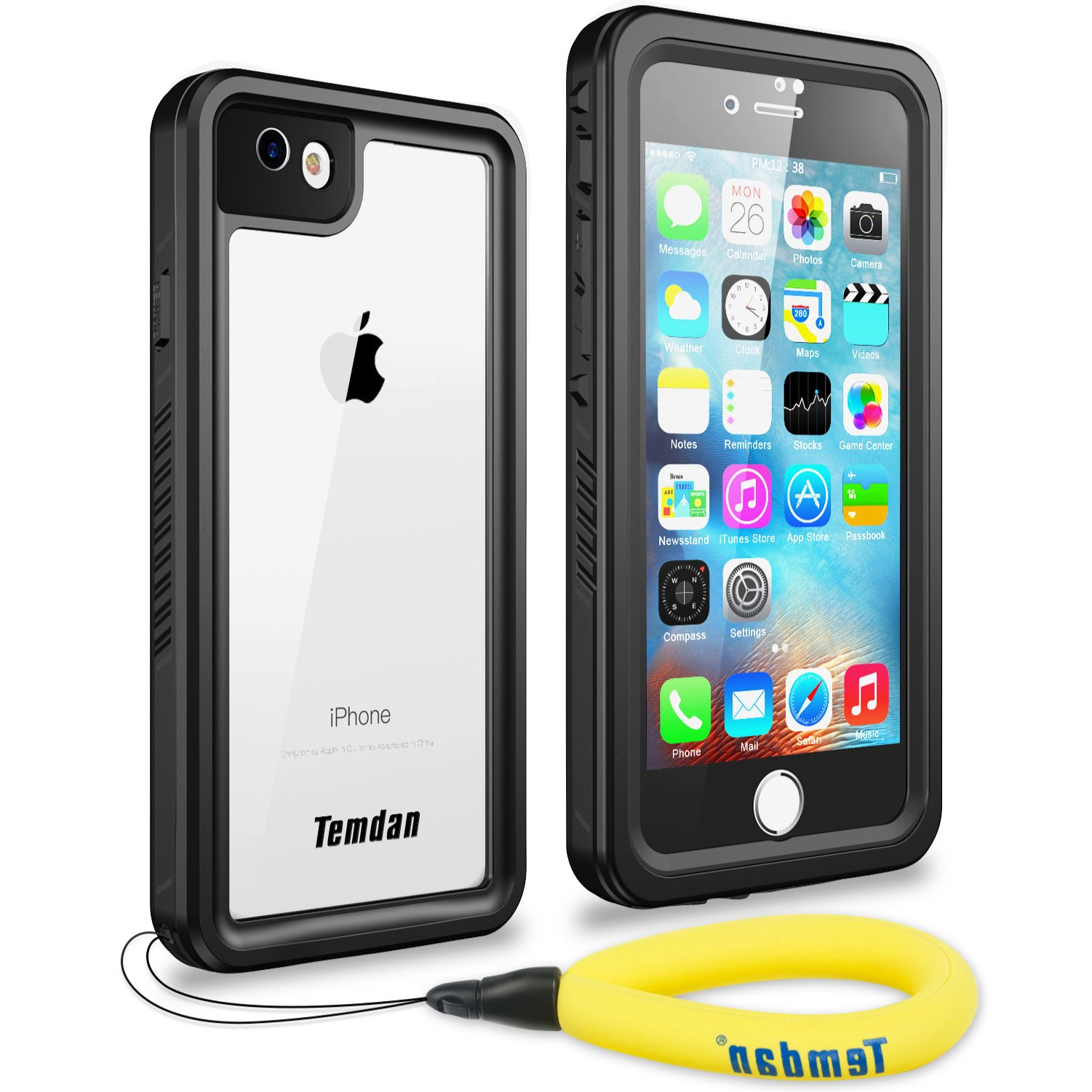 Temdan iPhone 7/8 Waterproof Case with Floating Strap and Kickstand Built in Screen Protector Snowproof Shockproof Underwater Case for iPhone 7 and iPhone 8(BLACK)