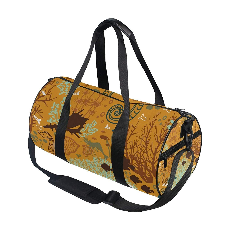 baceaf240dd Amazon.com   OuLian Vintage Wild Ocean Sea Aquatic World Animals Fish  Sports Gym Shoulder Handy Duffel Bags for Women Men Kids Boys Girls    Sports   ...