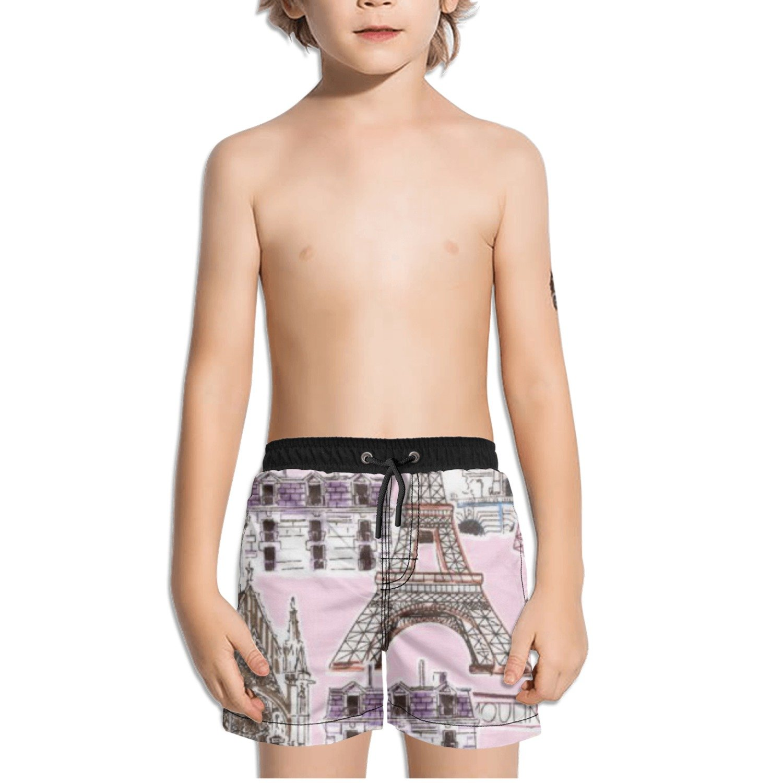 Ouxioaz Boys' Swim Trunk Dream Vacation Paris Eiffel Tower Beach Board Shorts