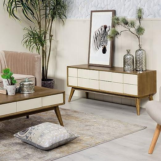 Desconocido Mueble BAJO EN Color Natural-Crema DE Material ...