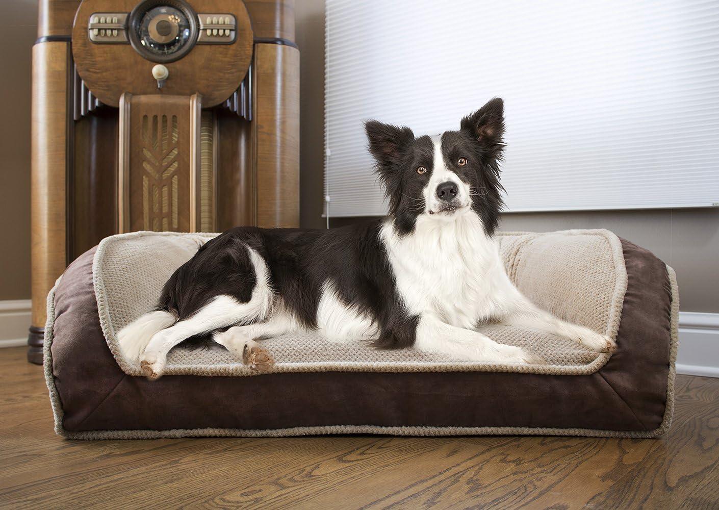 Arlee Deep Seated Lounger Sofa Pet Bed, Small/Medium, Chocolate Brown