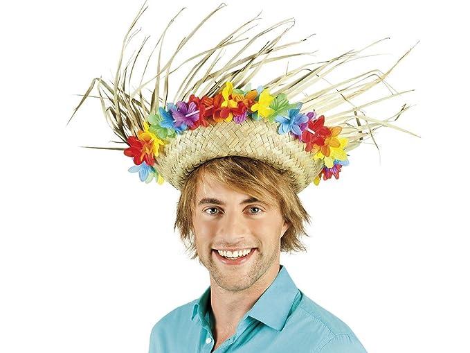 Alsino. Hawaii 52537. Sombrero de paja con cadena de flores. Sombrero de  fiesta Hawaiana.  Amazon.es  Ropa y accesorios 54eb7e03694