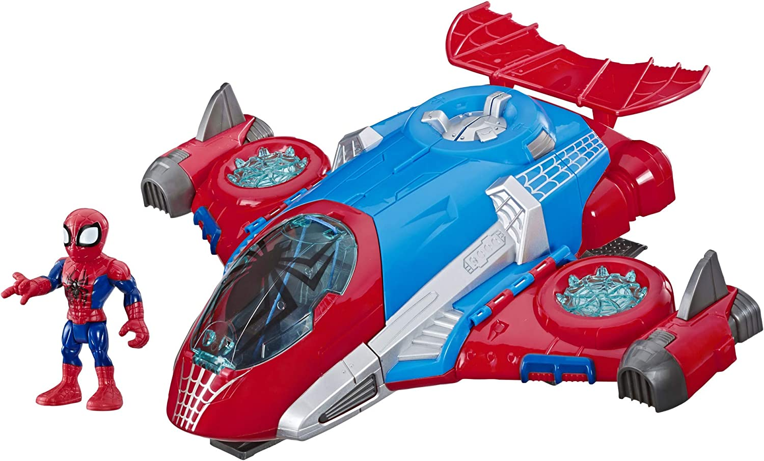 Super Hero Adventures Playskool Heroes Marvel Spider-Man Jetquarters, 5-Inch Action Figure and Vehicle Set, Toy Jet, Collectible Toys for Kids from 3 Years Old