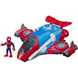 Super Hero Adventures Playskool Heroes Marvel Spider-Man Jetquarters, 5-Inch Action Figure and Vehicle Set, Toy Jet…