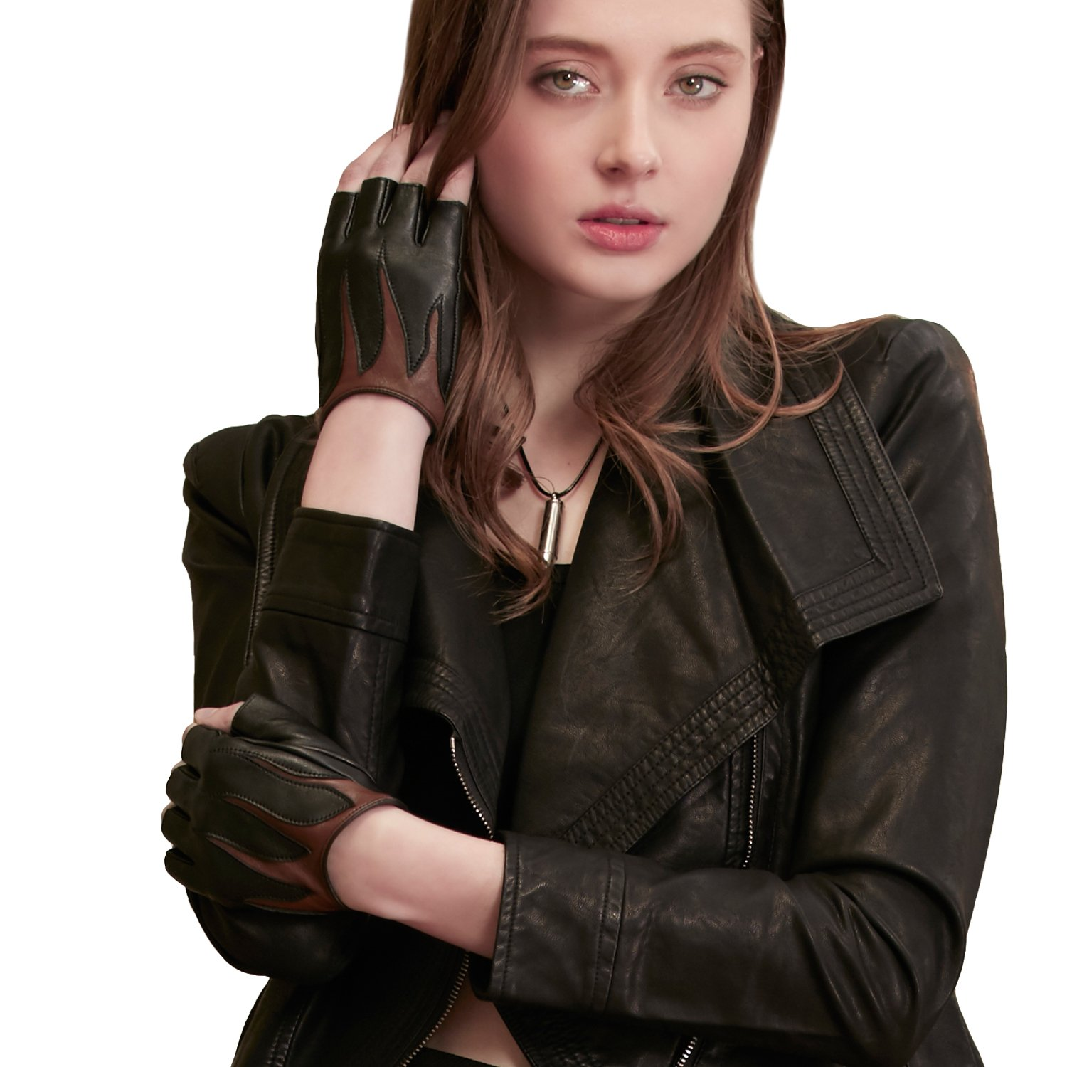 GSG Two-tone Fire Pattern Womens Fingerless Gloves Stylish Genuine Leather Half Finger Driving Gloves Party Dance Show Black 7.5