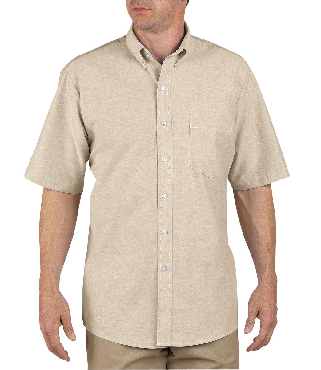 Dickies Occupational Workwear SS46TK 155 Polyester/ Cotton Men's Button-Down Short Sleeve Oxford Shirt, 15-1/ 2'' Neck, Light Khaki
