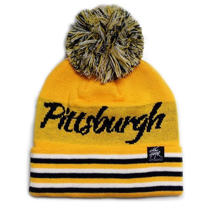 28cf20314d8 City Hunter Sk930 Pittsburgh Stripe Script City Pom Knit Beanie Hat  (Gold black)