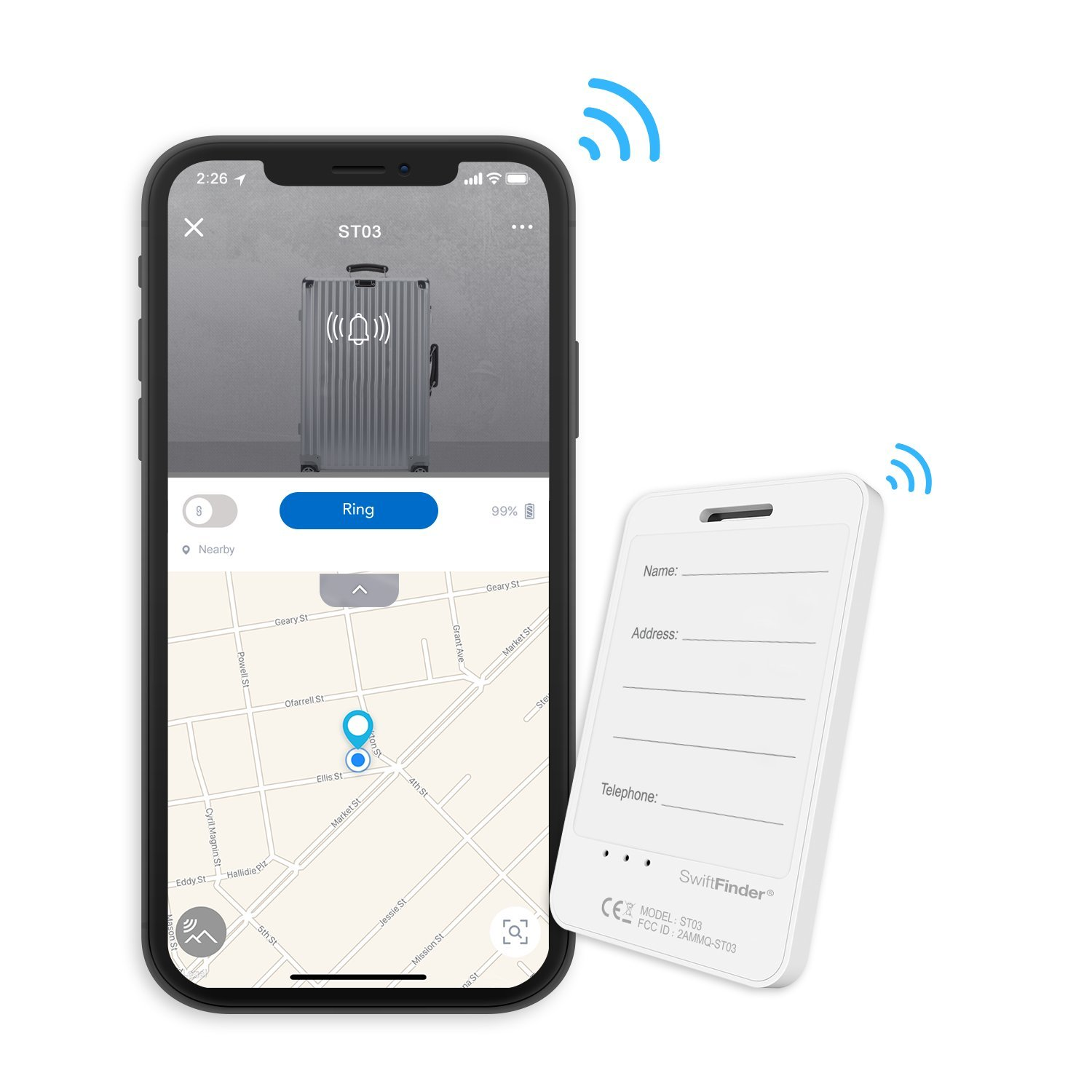 Smart Luggage Tag ST03,Locator Tag with Phone Finder for Luggages,Suitcases and Bags,Bluetooth Tracker with App Control by SwiftFinder