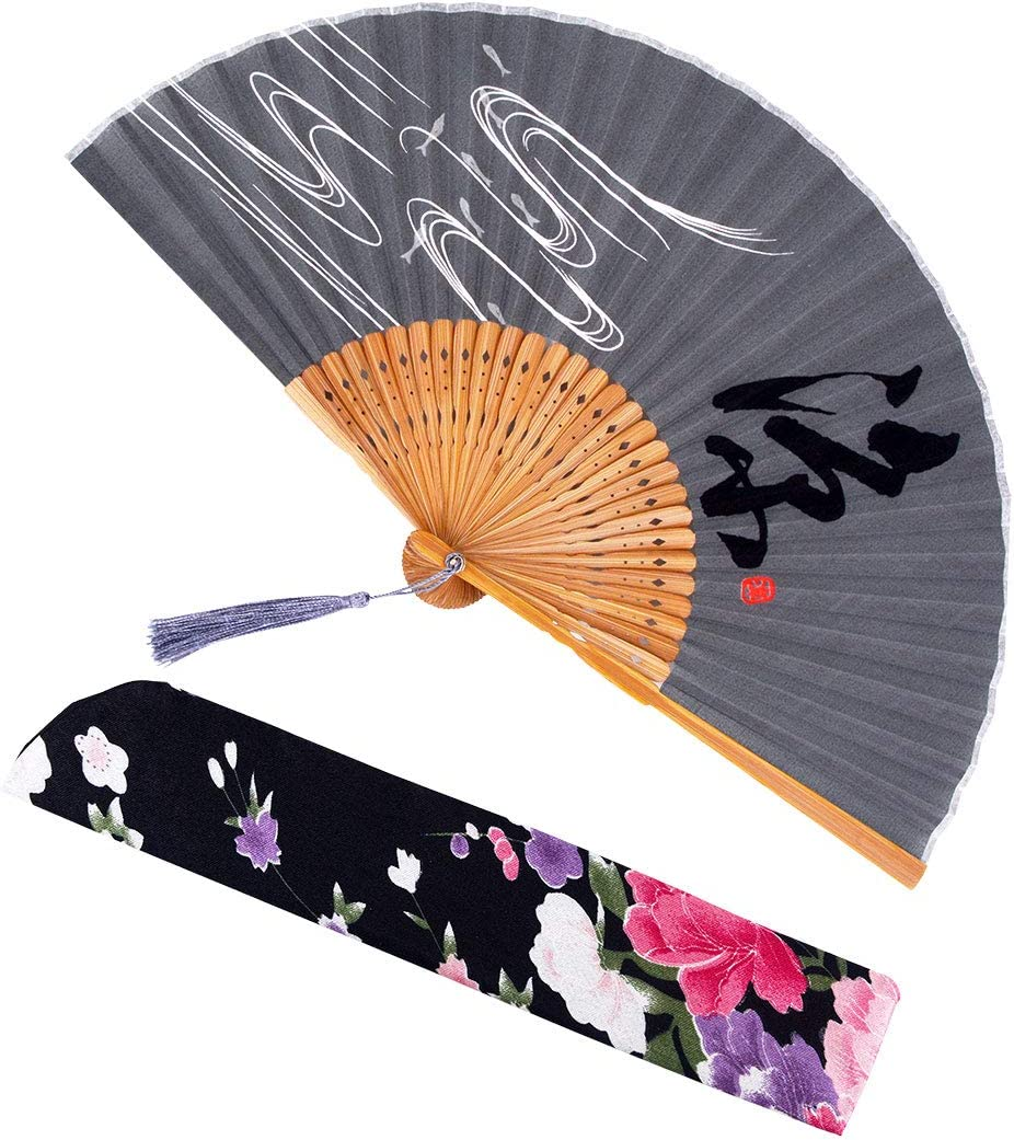 meifan Silk Folding Fans - Bamboo Hand Held Fans for Women with Bamboo Frame Delicate Sleeve Elegant Tassel,Hand Fans Perfect for Party Wedding Dancing Decoration Festival (Black3)